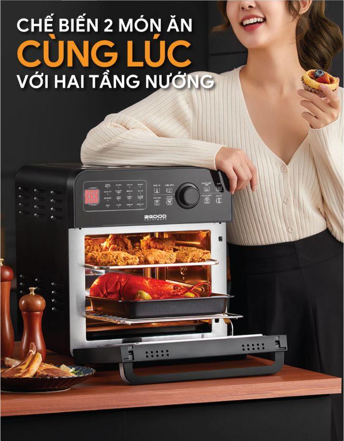 che-bien-2-mon-an-cung-luc-voi-noi-chien-khong-dau-2good-vortex-s20-air-fryer-oven