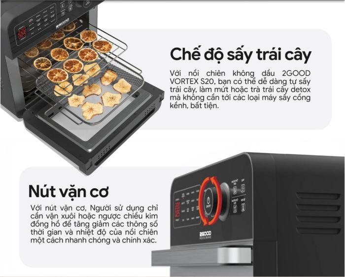 che-do-say-trai-cay-cua-noi-chien-khong-dau-2good-vortex-s20-air-fryer-oven
