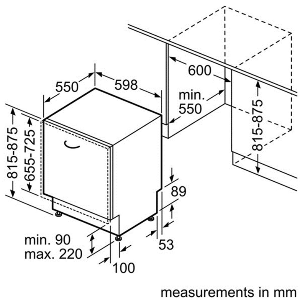 Kích thước máy rửa bát âm tủ Bosch