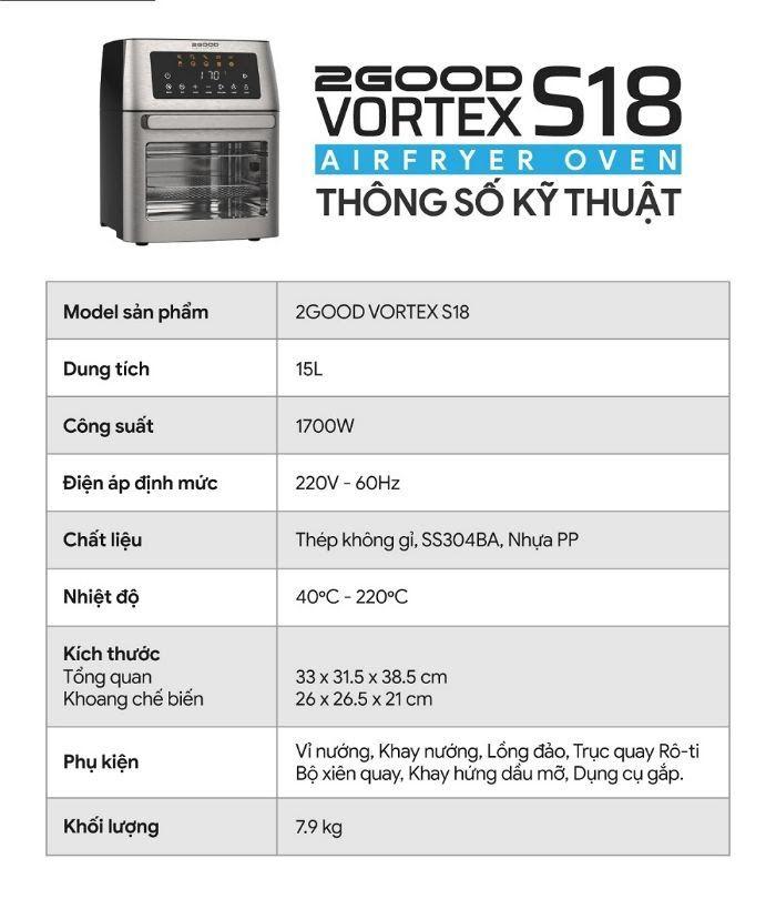 Thông số kỹ thuật của Nồi Chiên Không Dầu 2GOOD Vortex S-18 Airfryer Oven