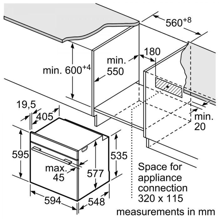 Thông số lắp đặt của lò nướng Bosch HBG655BS1M