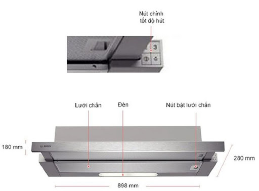 Đánh giá máy hút mùi Bosch DHI923GSG về thiết kế