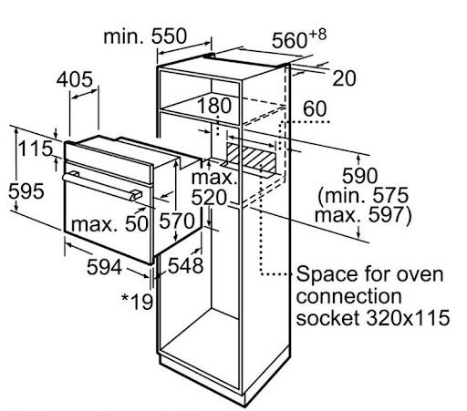 Kích thước lắp đặt lò nướng Bosch HBF113BR0A