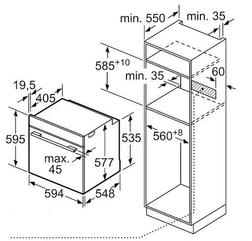 Kích thước lắp đặt lò nướng Bosch HBG634BB1B