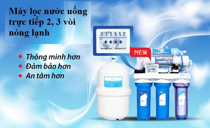 Máy lọc nước uống trực tiếp 2, 3 vòi nóng lạnh uy tín giá rẻ bán ở đâu Hà Nội, tpHCM