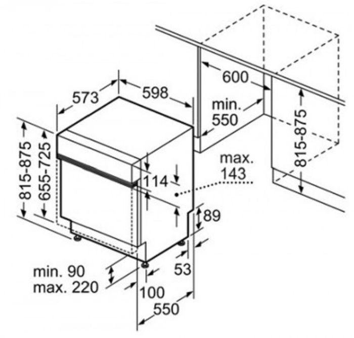 Sơ đồ kích thước máy rửa bát Bosch SMS63l08EA