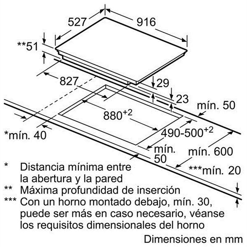 Bosch PXX975DC1E yêu cầu kích thước bàn đá tối thiểu