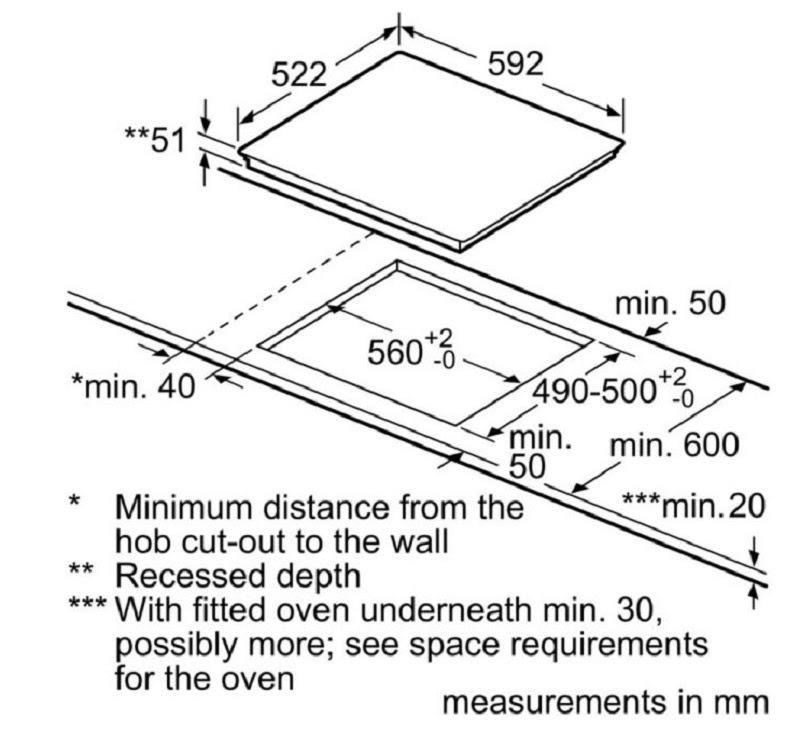 Bosch PXE675DC1E yêu cầu kích thước tối thiểu của bàn đá